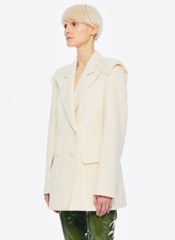 Basketweave Sculpted Blazer Ivory-7