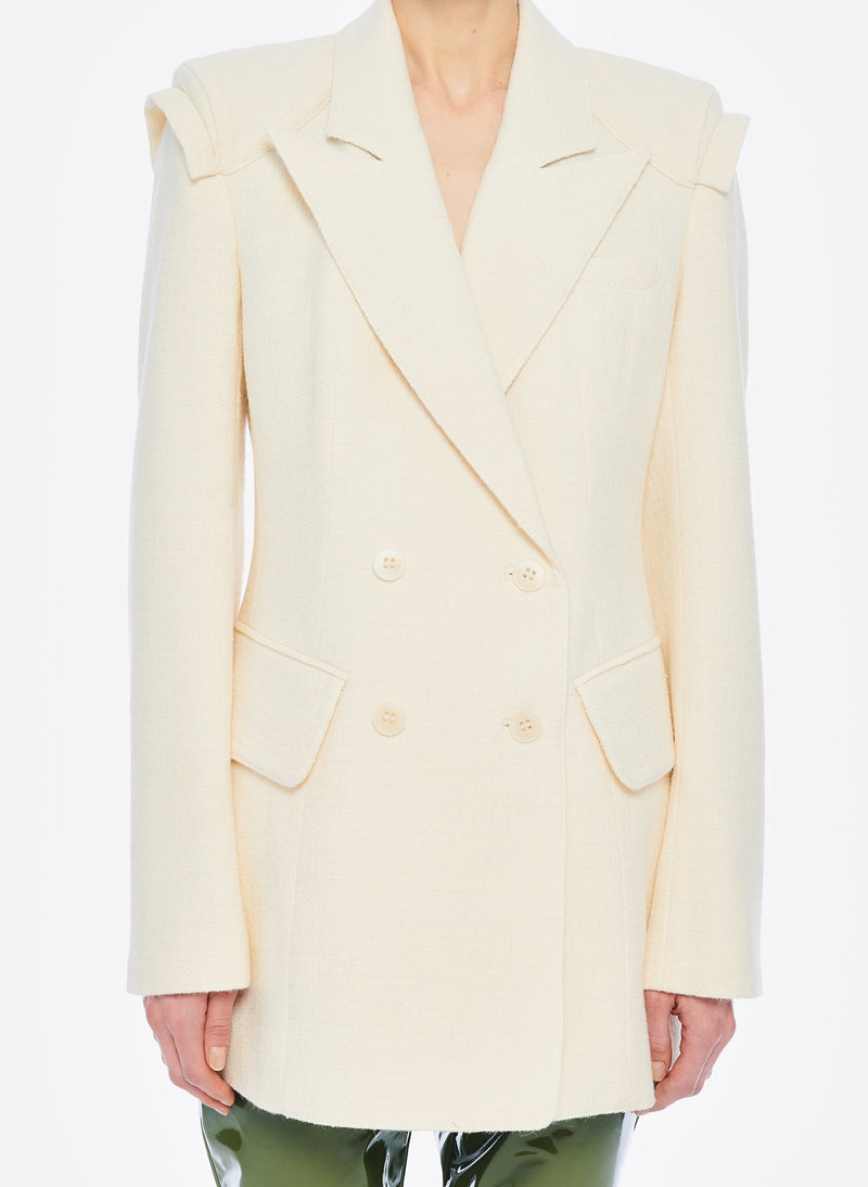 Basketweave Sculpted Blazer Ivory-9