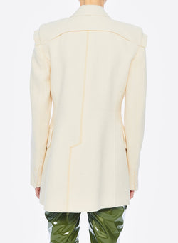 Basketweave Sculpted Blazer Ivory-10