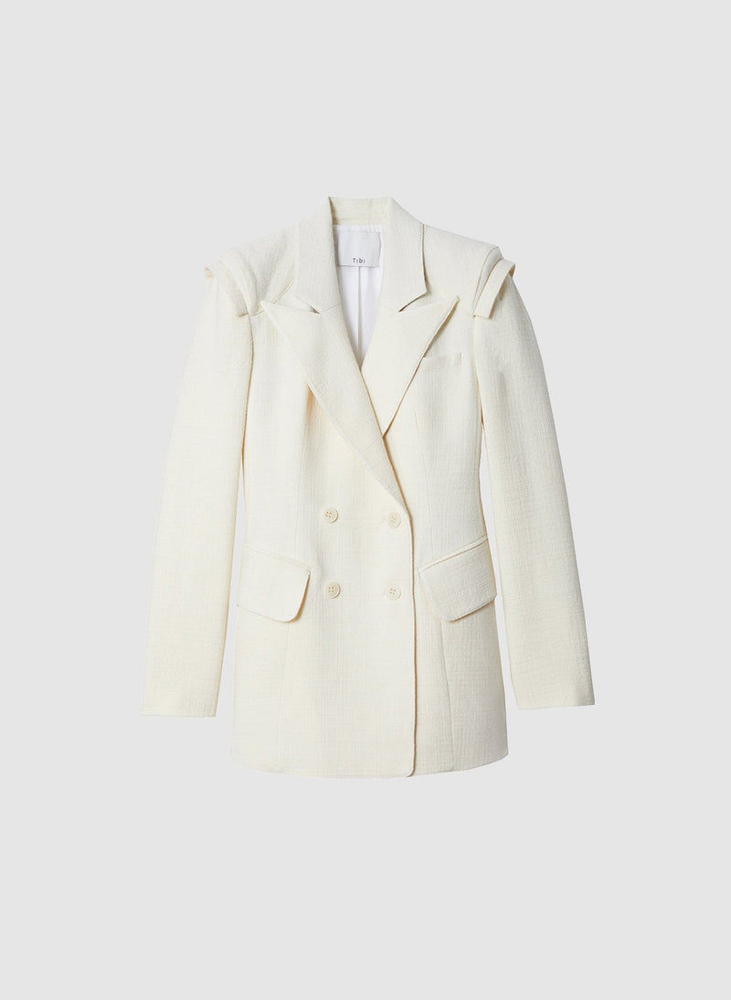 Basketweave Sculpted Blazer Ivory-12