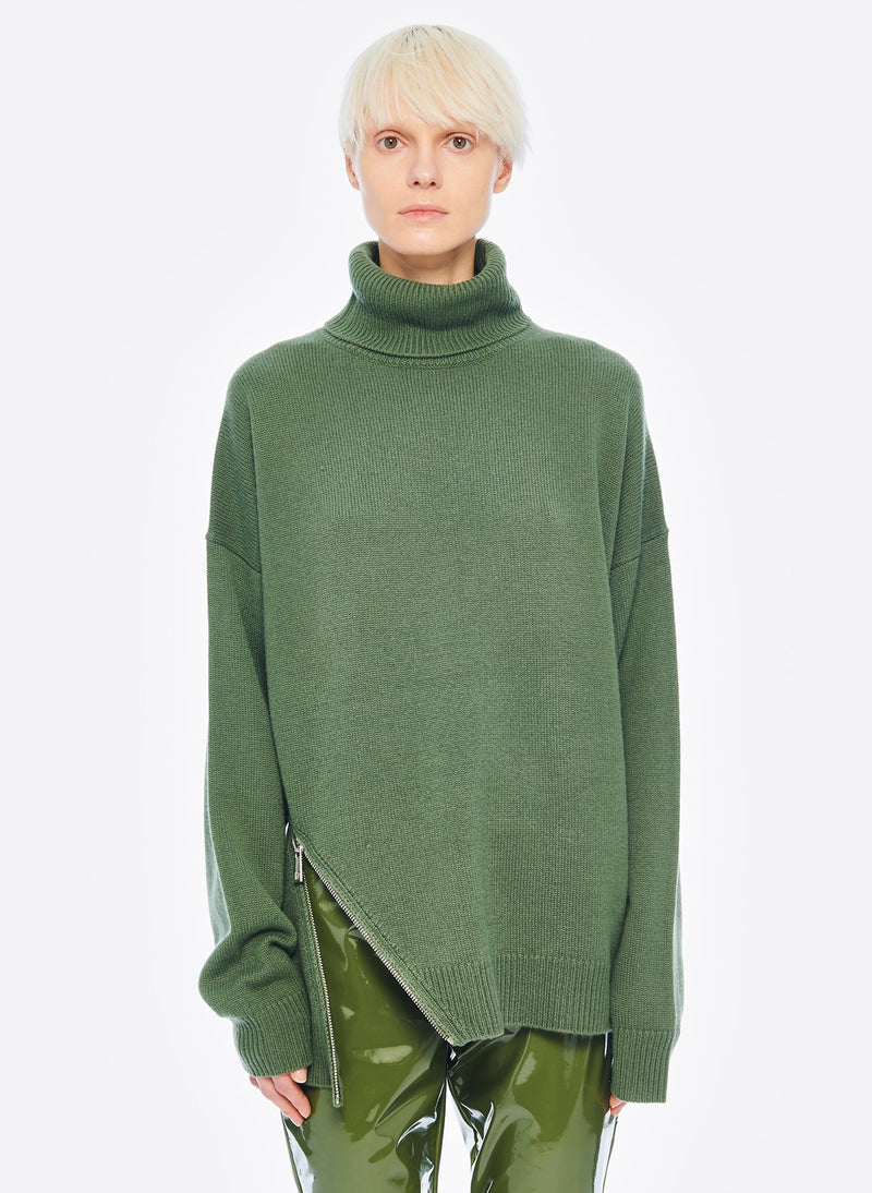 Cashmere Turtleneck Army Green-1