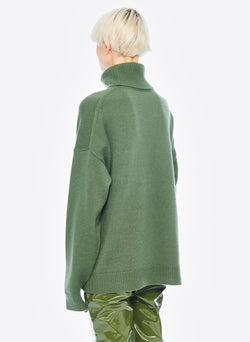 Cashmere Turtleneck Army Green-2
