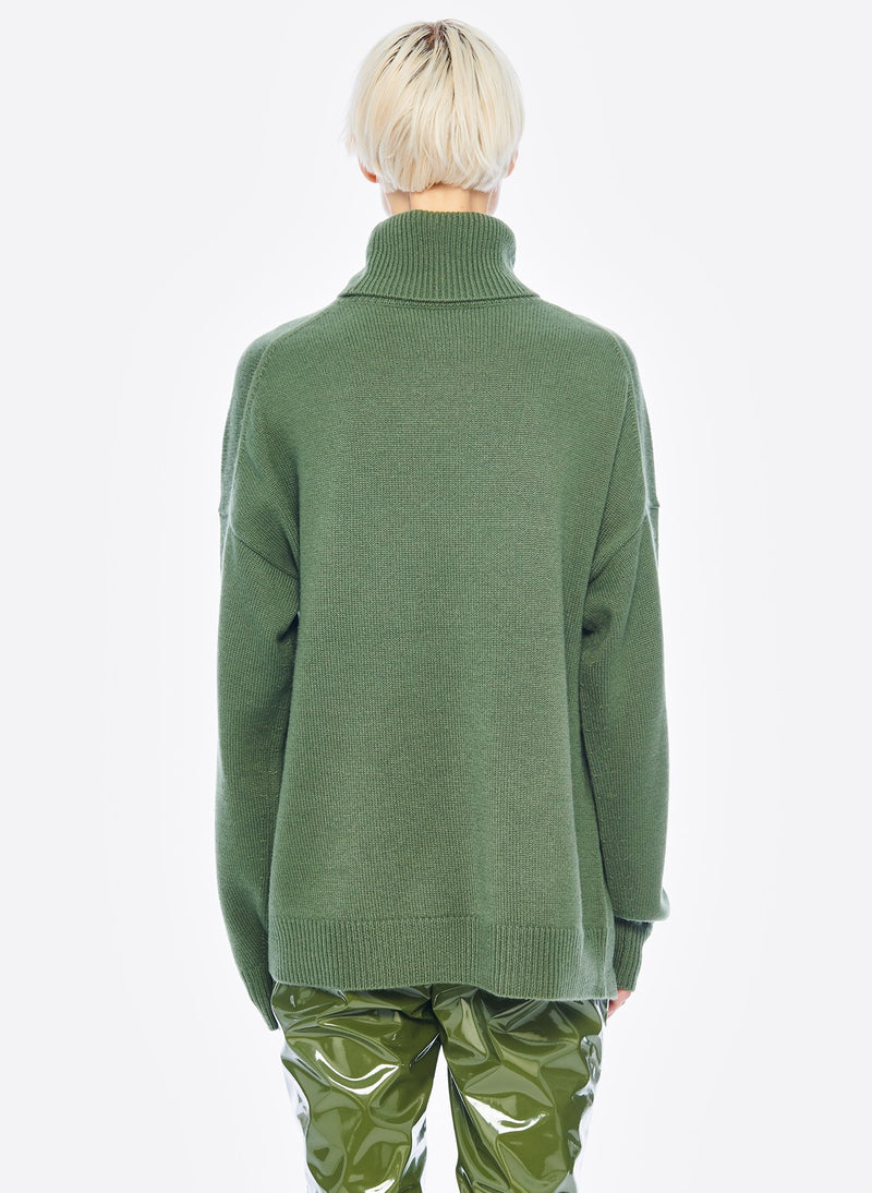 Cashmere Turtleneck Army Green-3
