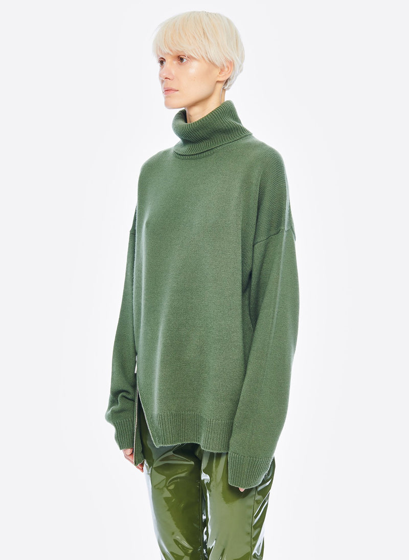 Cashmere Turtleneck Army Green-4