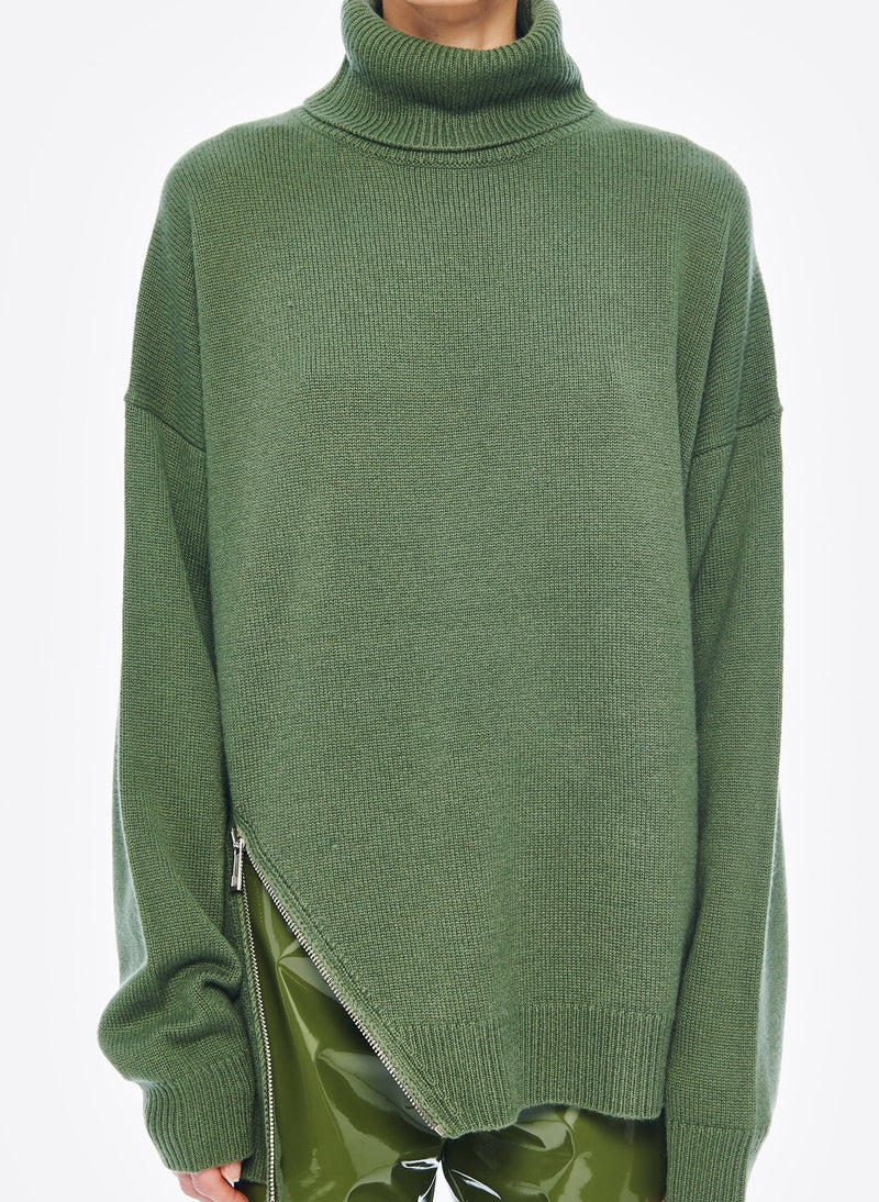 Cashmere Turtleneck Army Green-5