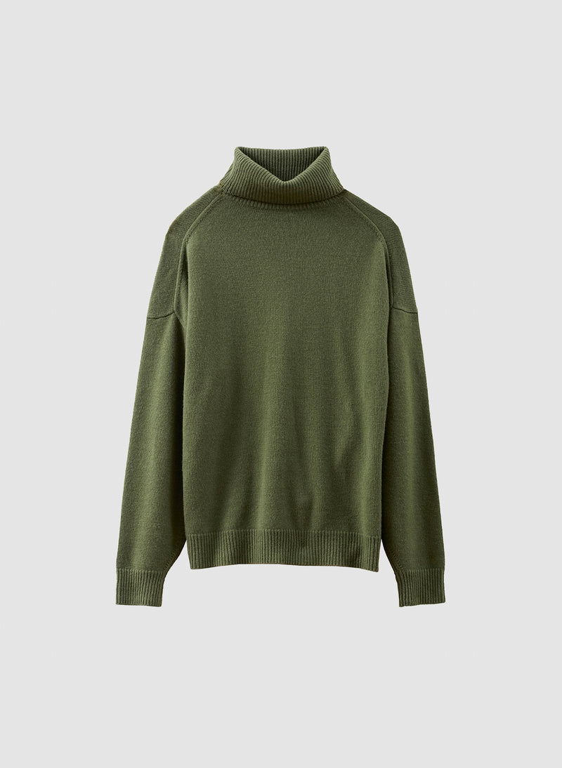 Cashmere Turtleneck Army Green-7
