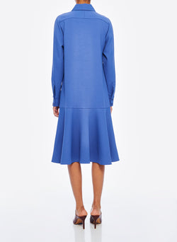 Chalky Drape Shirtdress Denim Blue-3
