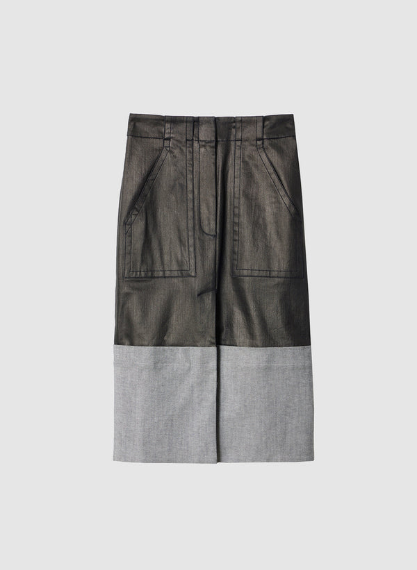 Coated Denim Cargo Skirt