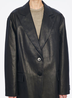 Coated Denim Liam Tuxedo Jacket Black-5