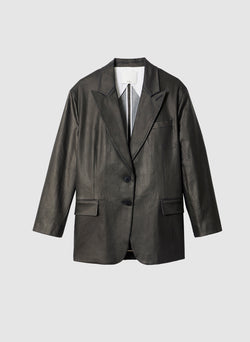 Coated Denim Liam Tuxedo Jacket Black-6