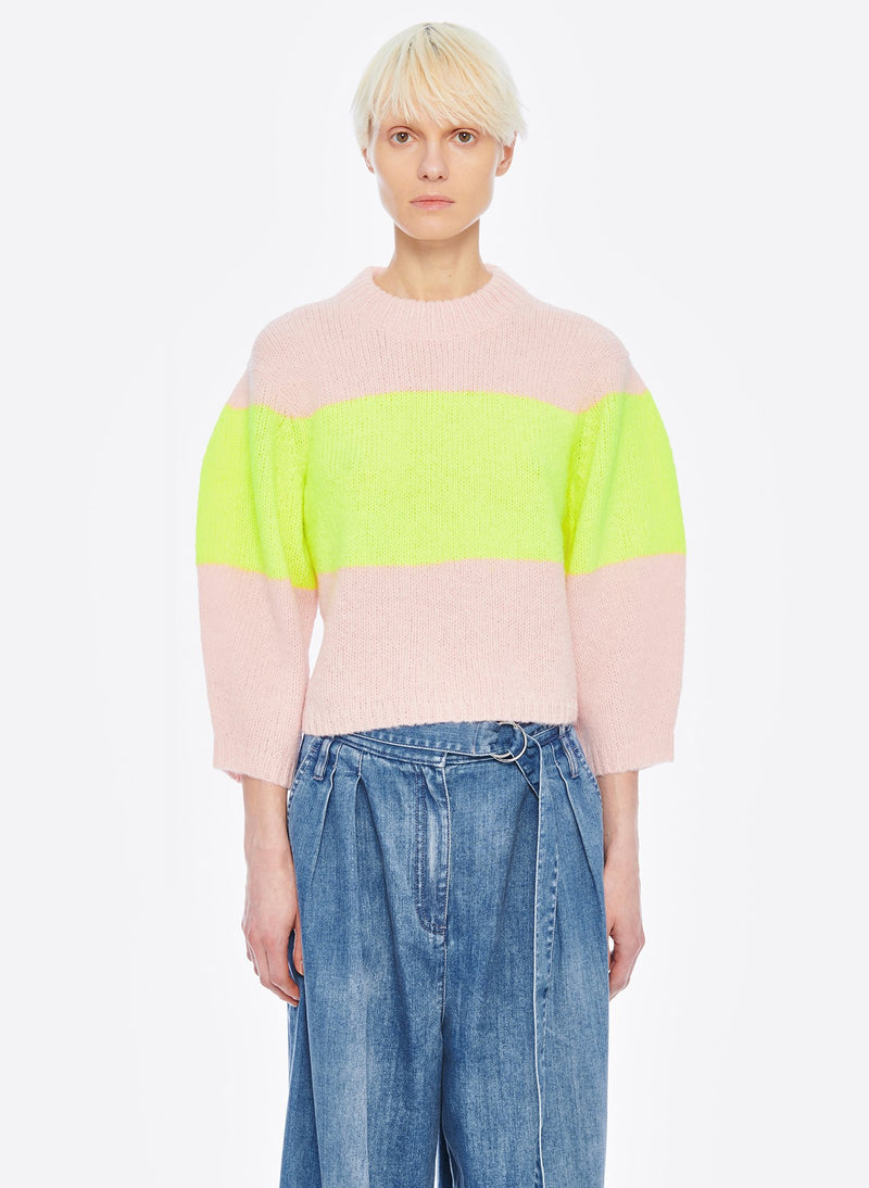 Cozette Alpaca Stripe Cropped Pullover Pale Blush/Lemon Yellow Multi-1