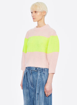 Cozette Alpaca Stripe Cropped Pullover Pale Blush/Lemon Yellow Multi-2