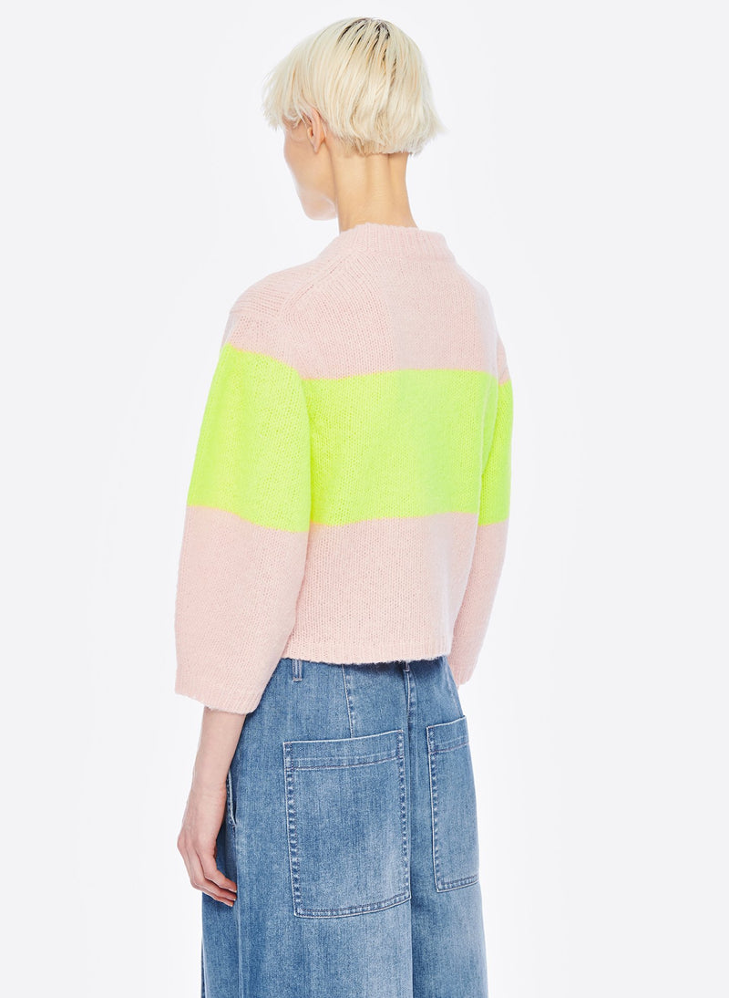 Cozette Alpaca Stripe Cropped Pullover Pale Blush/Lemon Yellow Multi-3