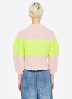 Cozette Alpaca Stripe Cropped Pullover Pale Blush/Lemon Yellow Multi-4