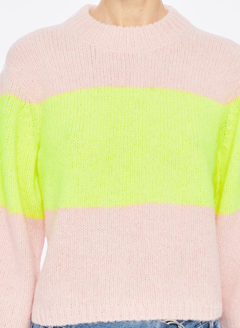 Cozette Alpaca Stripe Cropped Pullover Pale Blush/Lemon Yellow Multi-5