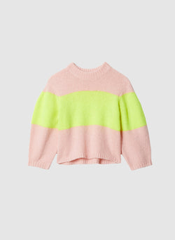 Cozette Alpaca Stripe Cropped Pullover Pale Blush/Lemon Yellow Multi-7