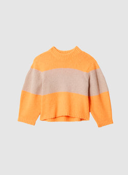 Cozette Alpaca Stripe Cropped Pullover Tangerine/Light Burlywood Multi-6