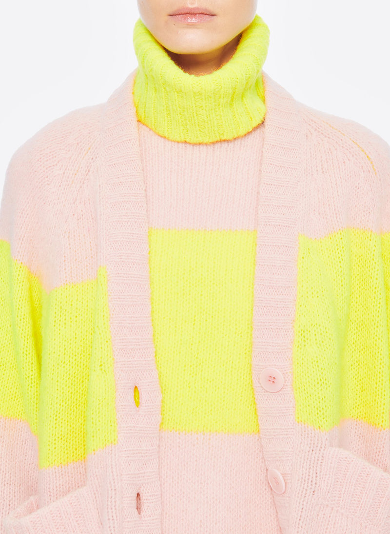 Cozette Alpaca Stripe Raglan Sleeve Cardigan Pale Blush/Lemon Yellow Multi-5