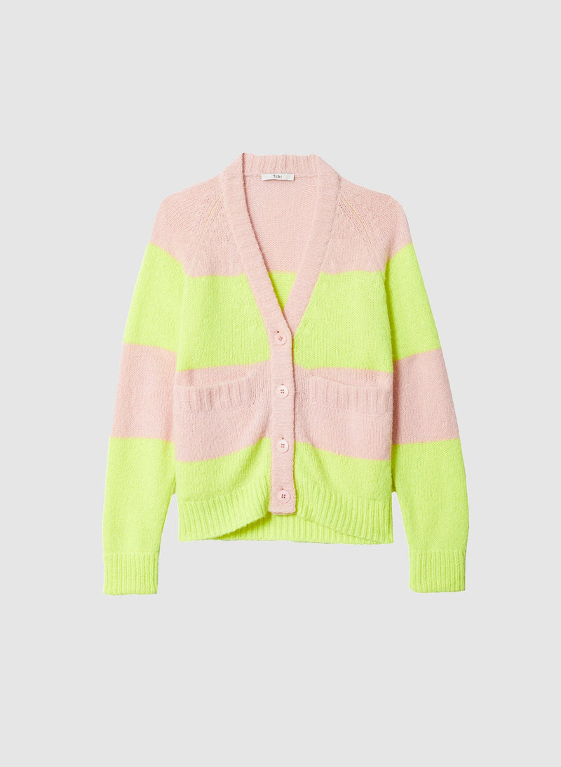 Cozette Alpaca Stripe Raglan Sleeve Cardigan Pale Blush/Lemon Yellow Multi-7