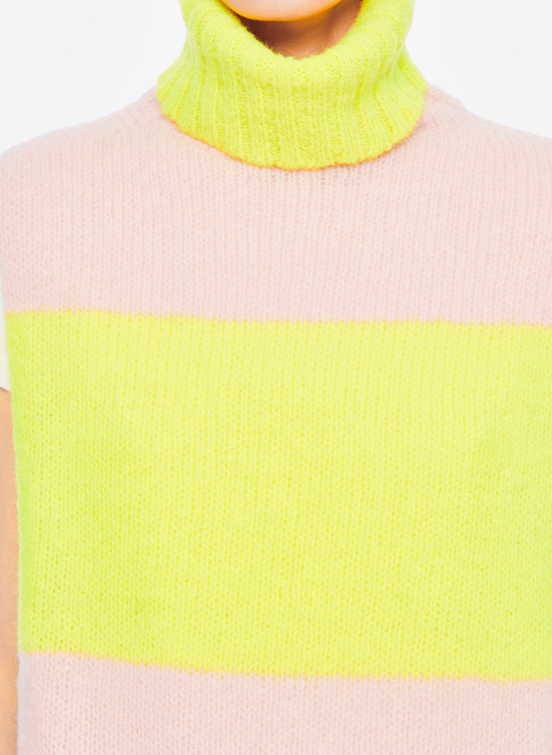 Cozette Alpaca Sweater Turtleneck Dickie Pale Blush/Lemon Yellow Multi-4