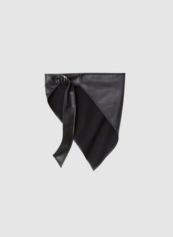 Faux Leather Babushka Scarf Black-1