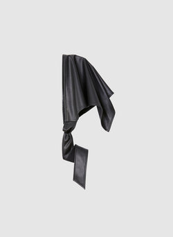 Faux Leather Babushka Scarf Black-2