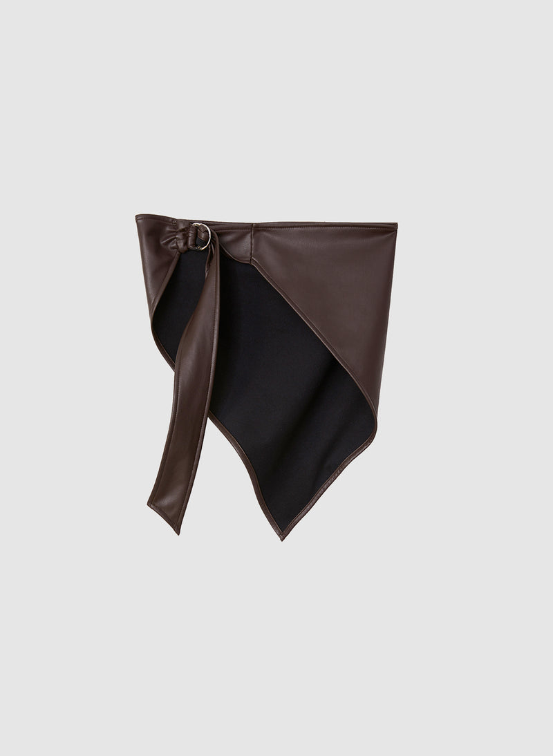 Faux Leather Babushka Scarf Brown-4