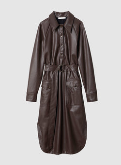 Faux Leather Shirtdress Brown-13