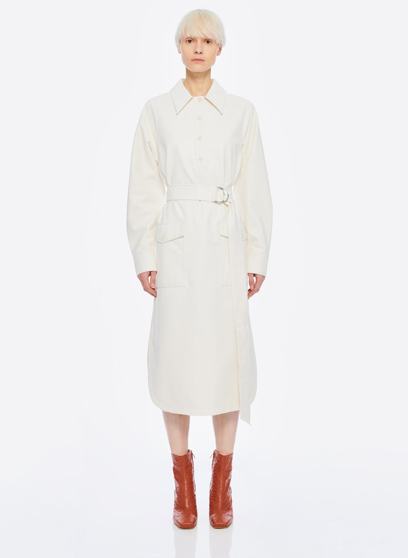 Faux Leather Shirtdress White-14