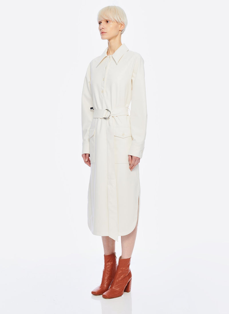 Faux Leather Shirtdress White-15