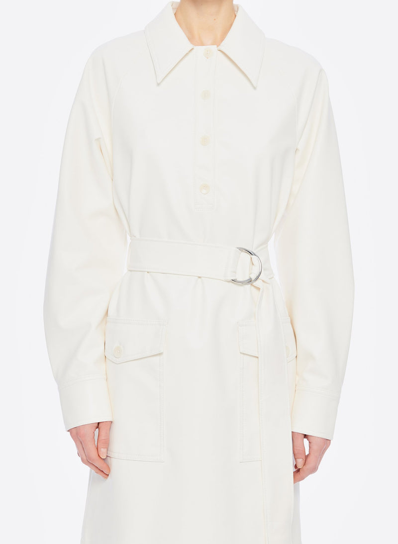 Faux Leather Shirtdress White-17