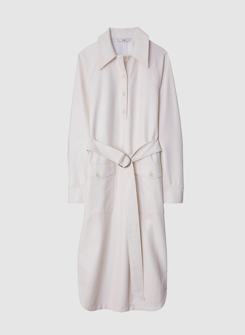 Faux Leather Shirtdress White-19