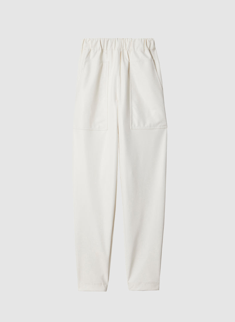 Faux Leather Pull On Pant White-7