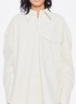 Faux Leather Utility Blouse White-5