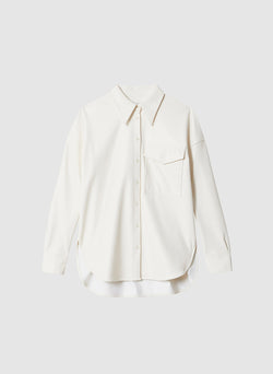 Faux Leather Utility Blouse White-7