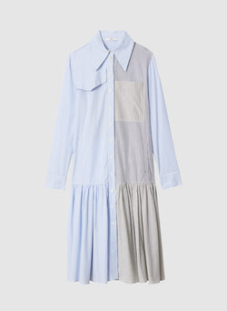 Collage Stripe Shirting Shirt Dress Blue Multi-5