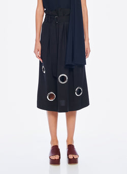 Grommet Polka Dot Skirt Black-1