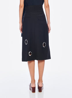 Grommet Polka Dot Skirt Black-3