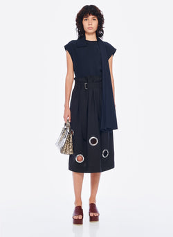 Grommet Polka Dot Skirt Black-6
