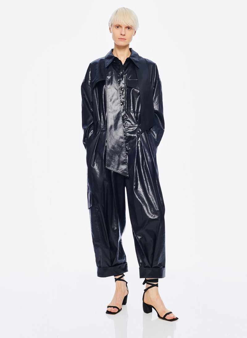Liquid Drape Utility Jumpsuit Dark Navy-4