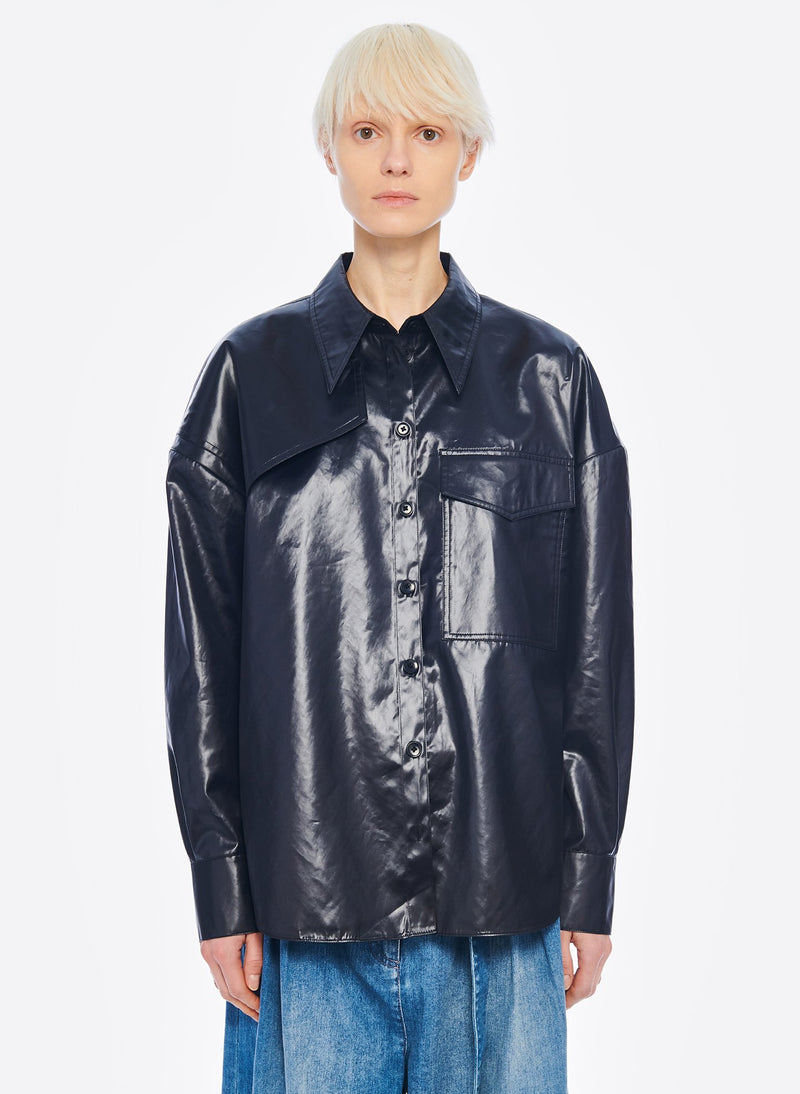 Liquid Drape Utility Shirt Dark Navy-1
