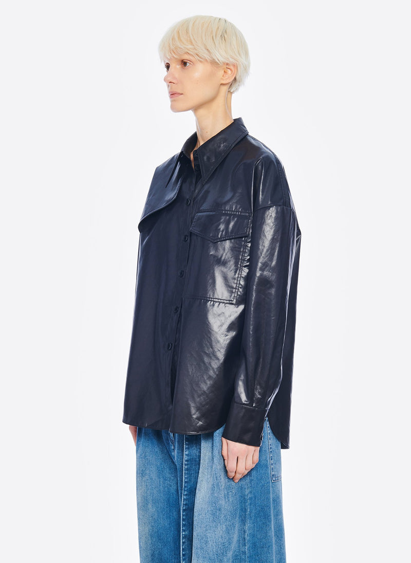 Liquid Drape Utility Shirt Dark Navy-2