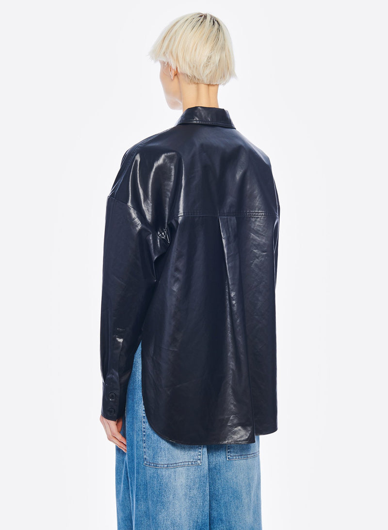Liquid Drape Utility Shirt Dark Navy-3
