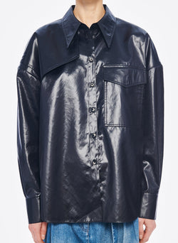Liquid Drape Utility Shirt Dark Navy-6