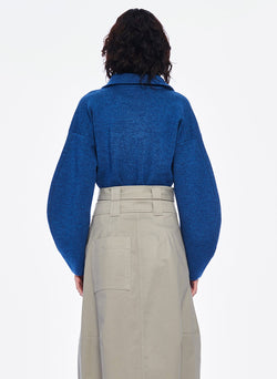 Sculpted Melange Wool Sweater Denim Blue Melange-3