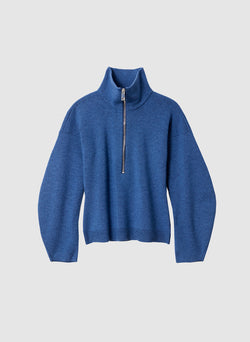 Sculpted Melange Wool Sweater Denim Blue Melange-7