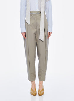 Myriam Twill Double Waisted Sculpted Pant Light Carbon-1