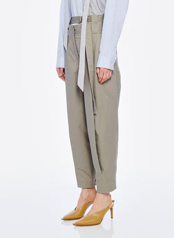 Myriam Twill Double Waisted Sculpted Pant Light Carbon-2