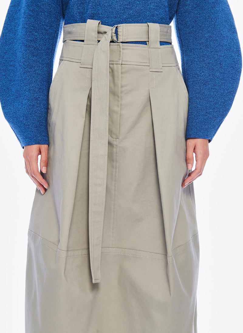 Myriam Twill Double Waisted Sculpted Skirt Light Carbon-5