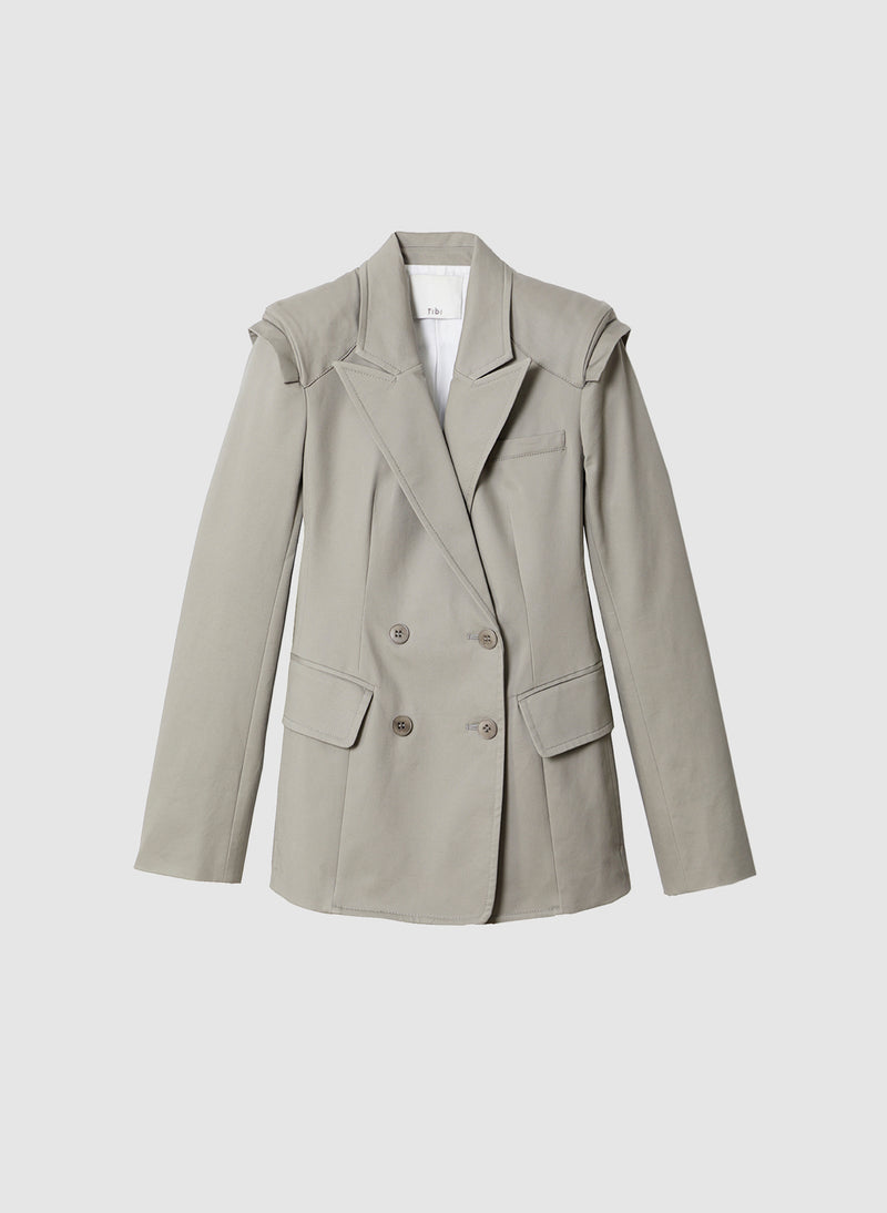 Myriam Twill Sculpted Blazer Light Carbon-7